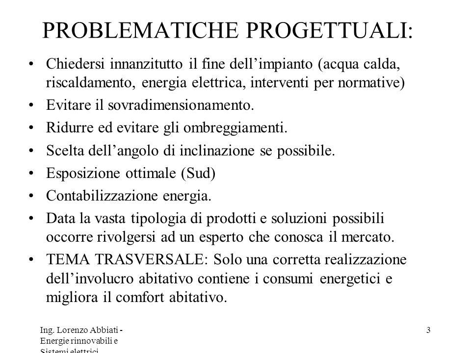 PROBLEMATICHE PROGETTUALI: