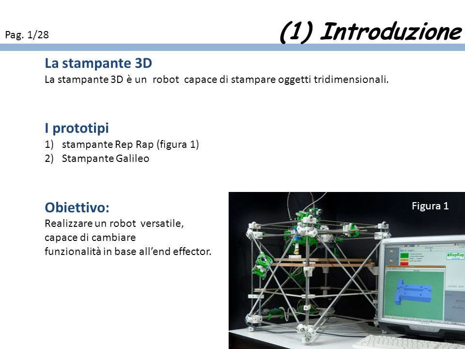 (1) Introduzione La stampante 3D I prototipi Obiettivo: Pag. 1/28