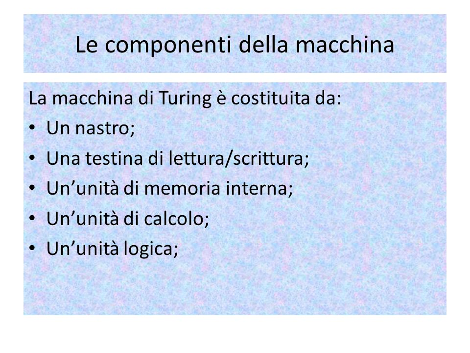 Le componenti della macchina