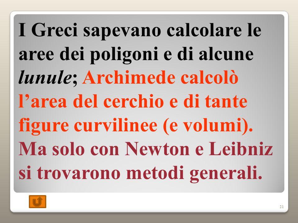 I Greci sapevano calcolare le aree dei poligoni e di alcune lunule; Archimede calcolò l'area del cerchio e di tante figure curvilinee (e volumi).