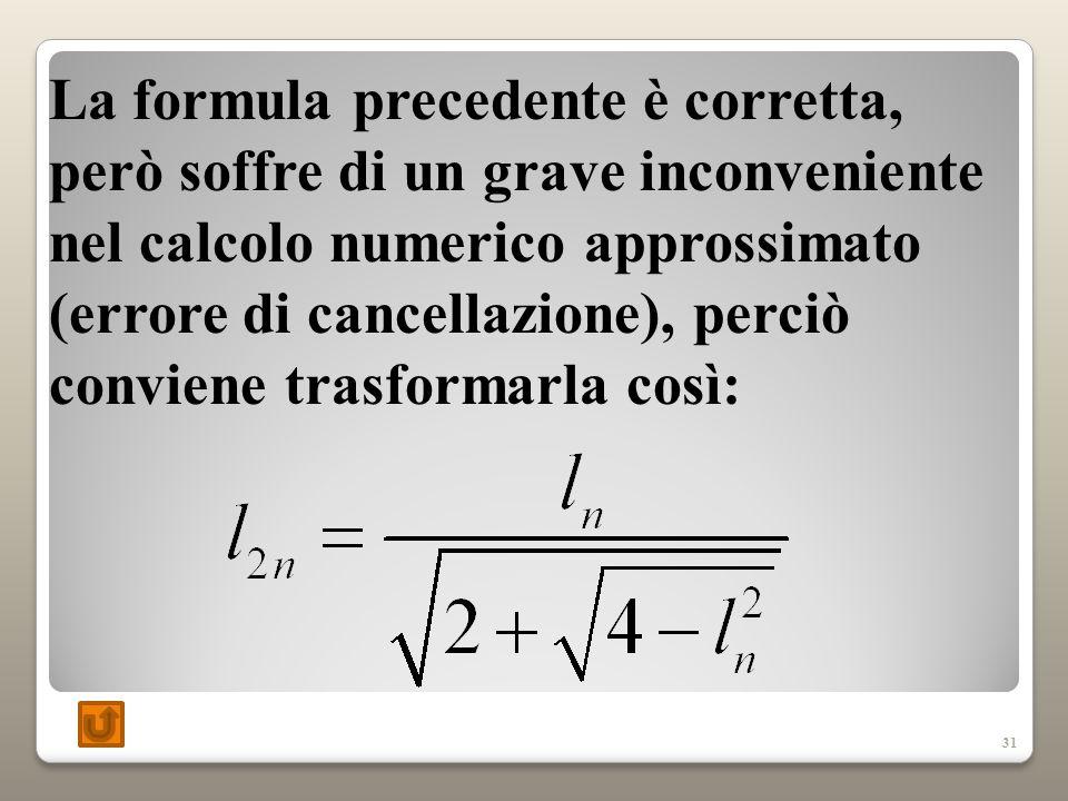 La formula precedente è corretta, però soffre di un grave inconveniente nel calcolo numerico approssimato (errore di cancellazione), perciò conviene trasformarla così:
