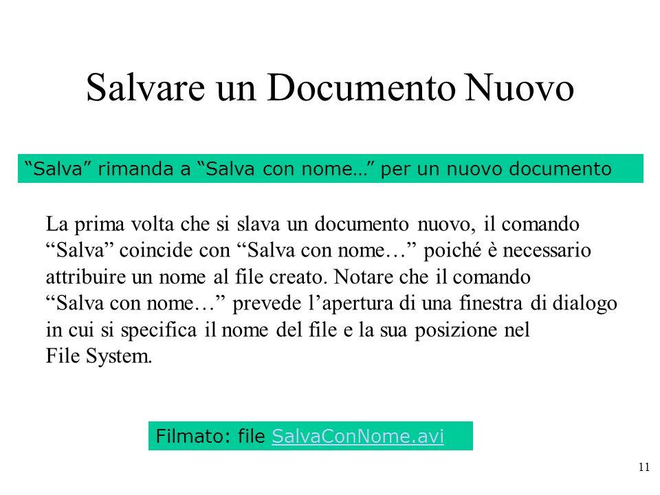 Salvare un Documento Nuovo