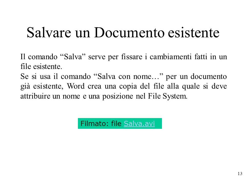Salvare un Documento esistente