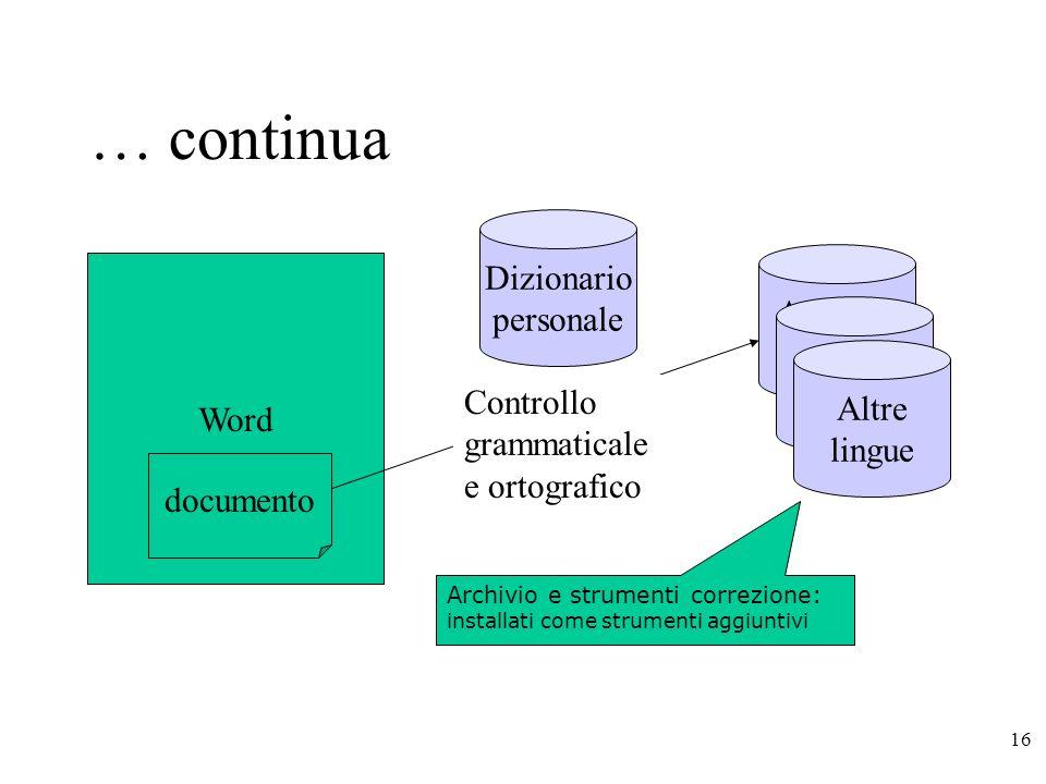 … continua Dizionario personale Archivio termini Word Altre lingue