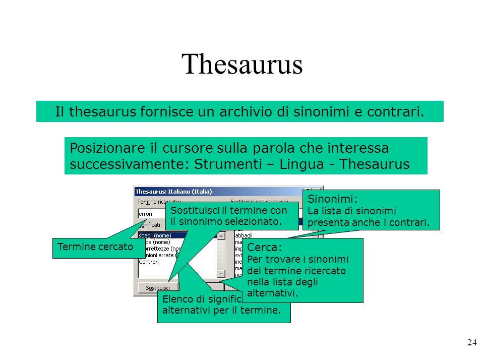 Il thesaurus fornisce un archivio di sinonimi e contrari.