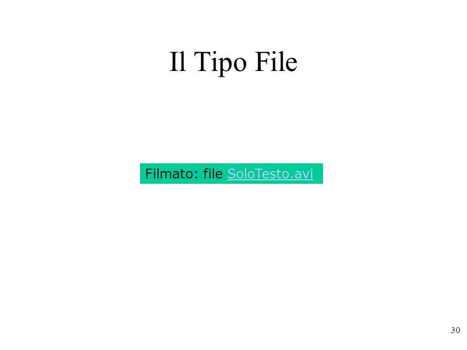 Il Tipo File Filmato: file SoloTesto.avi