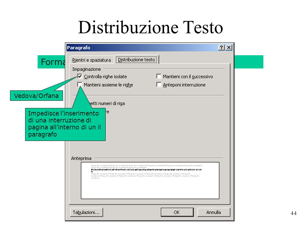 Distribuzione Testo Formato – Paragrafo – Distribuzione Testo