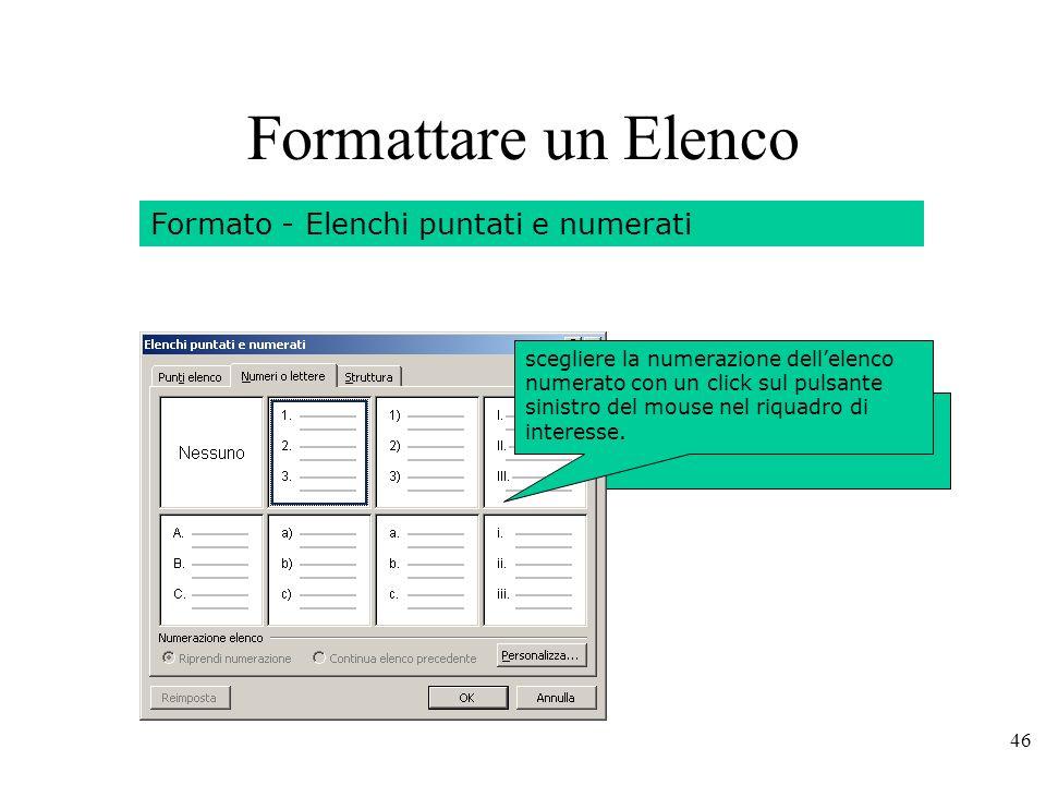 Formattare un Elenco Formato - Elenchi puntati e numerati