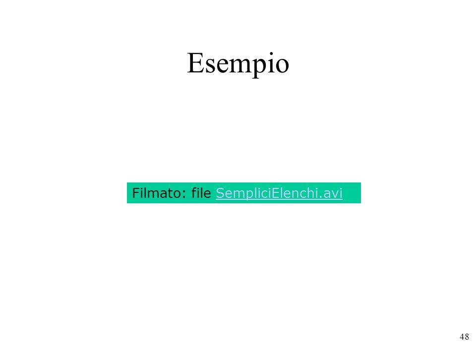 Esempio Filmato: file SempliciElenchi.avi
