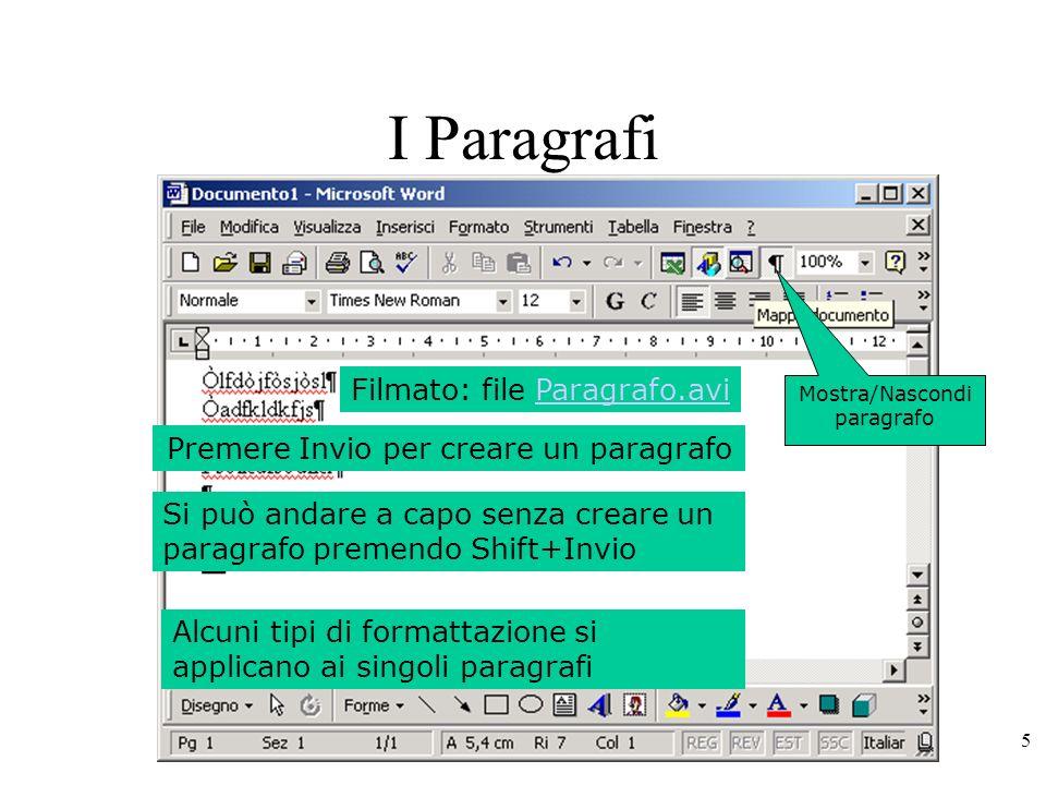 I Paragrafi Filmato: file Paragrafo.avi