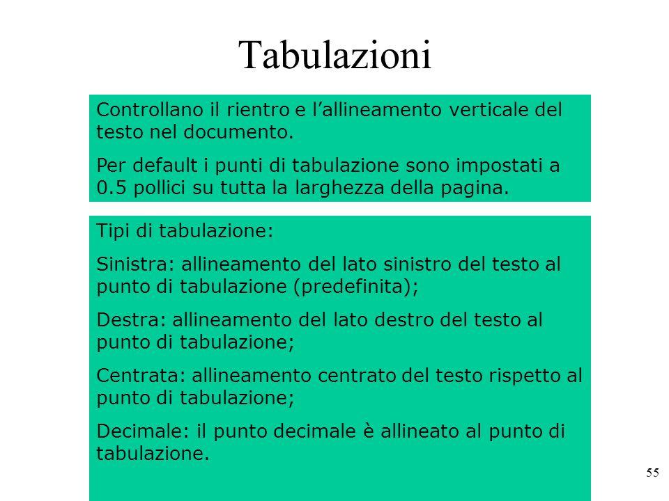 Tabulazioni Controllano il rientro e l'allineamento verticale del testo nel documento.