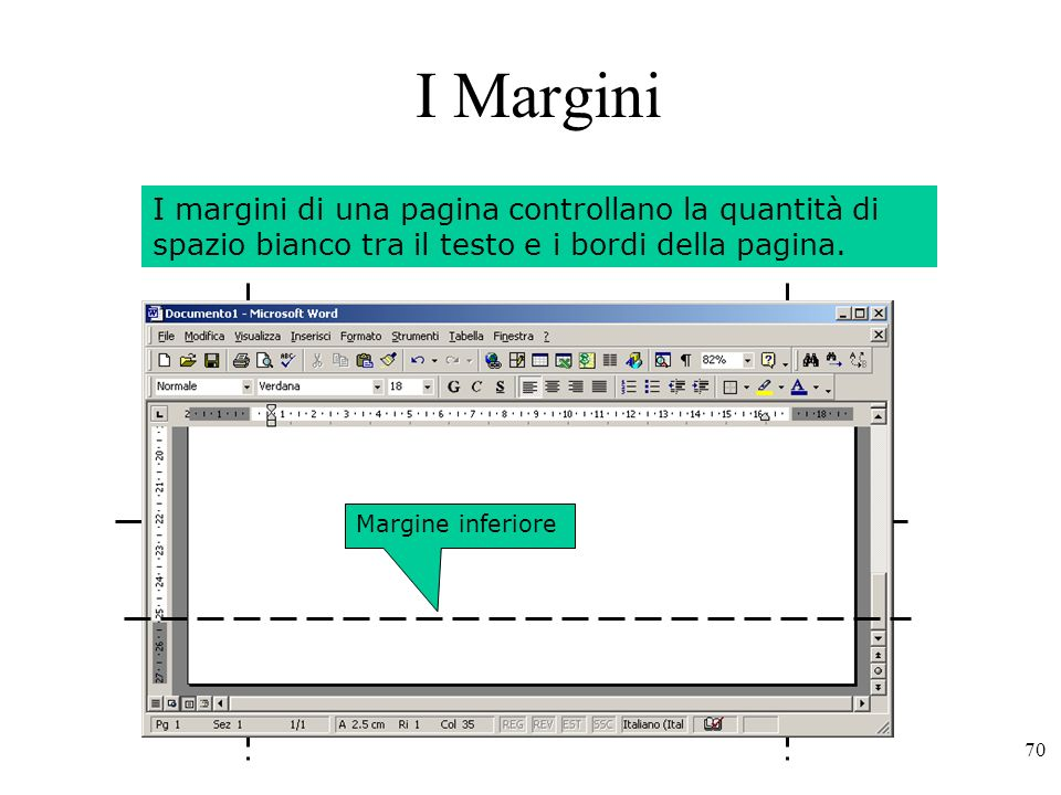 I Margini I margini di una pagina controllano la quantità di spazio bianco tra il testo e i bordi della pagina.