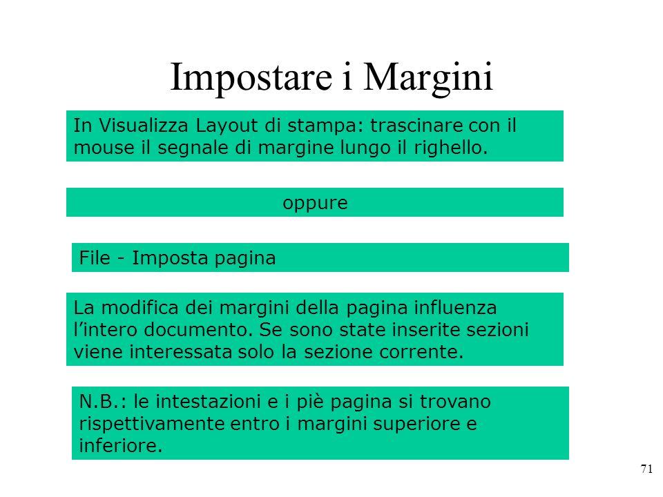 Impostare i Margini In Visualizza Layout di stampa: trascinare con il mouse il segnale di margine lungo il righello.