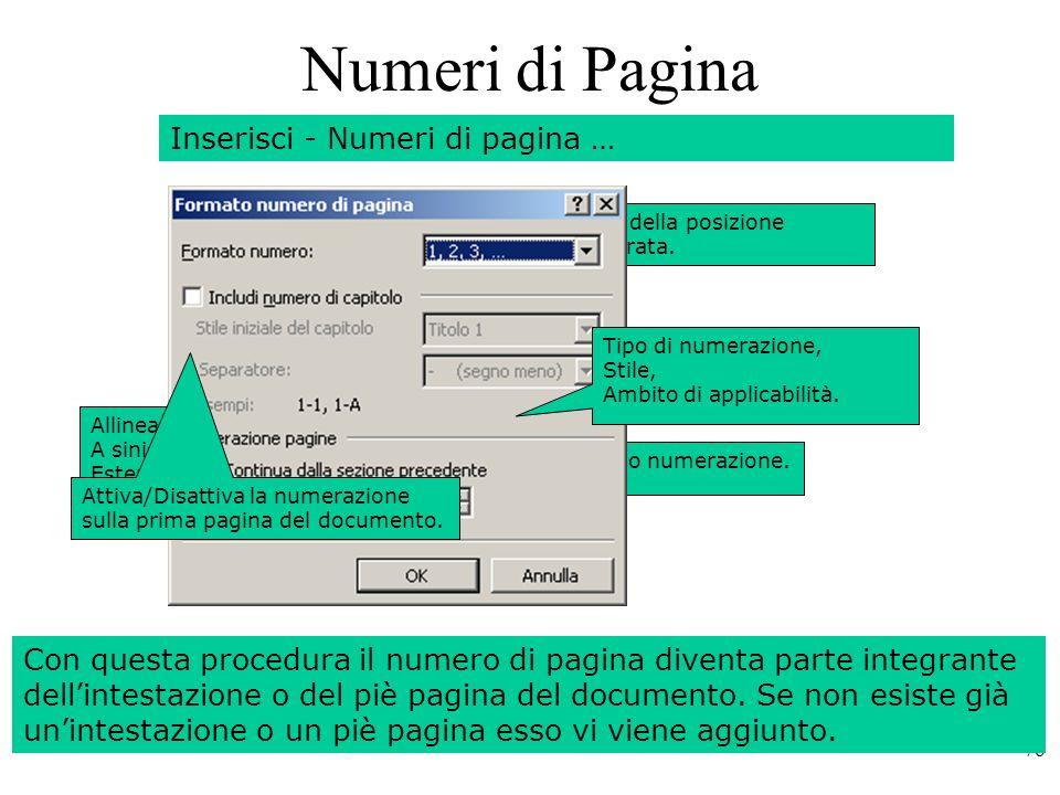 Numeri di Pagina Inserisci - Numeri di pagina …