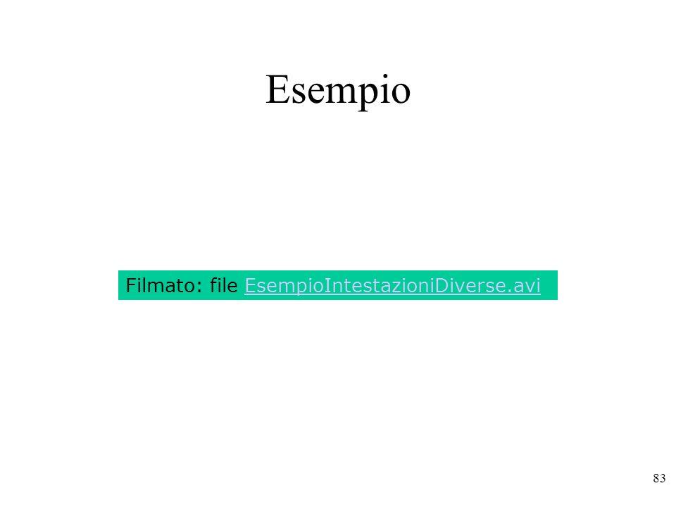 Esempio Filmato: file EsempioIntestazioniDiverse.avi