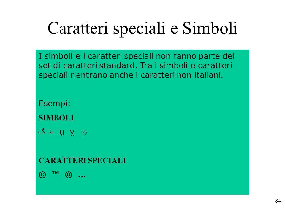 Caratteri speciali e Simboli