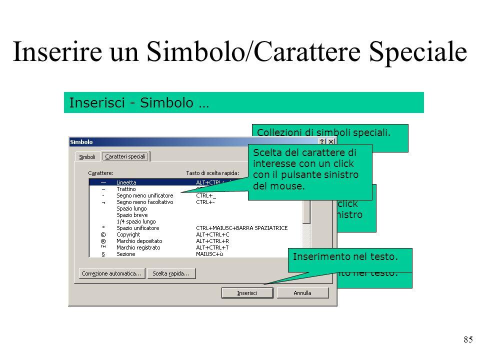 Inserire un Simbolo/Carattere Speciale