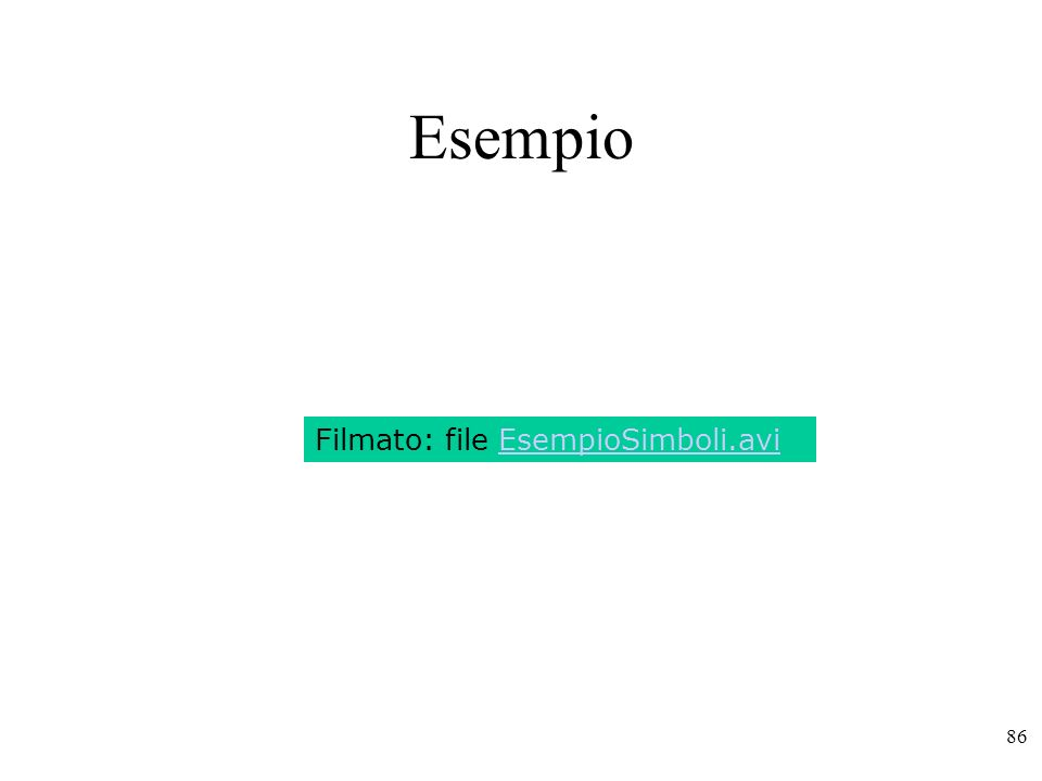 Esempio Filmato: file EsempioSimboli.avi