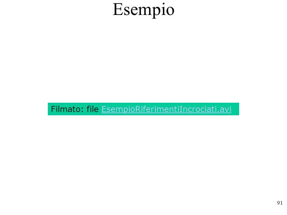 Esempio Filmato: file EsempioRiferimentiIncrociati.avi