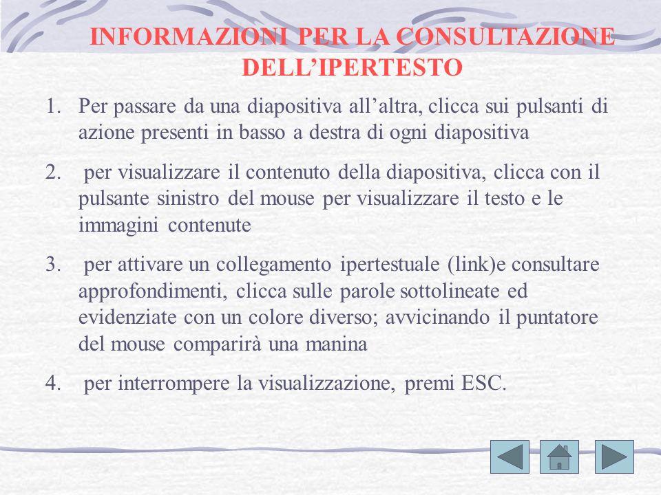 INFORMAZIONI PER LA CONSULTAZIONE DELL'IPERTESTO