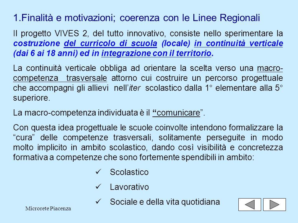Finalità e motivazioni; coerenza con le Linee Regionali