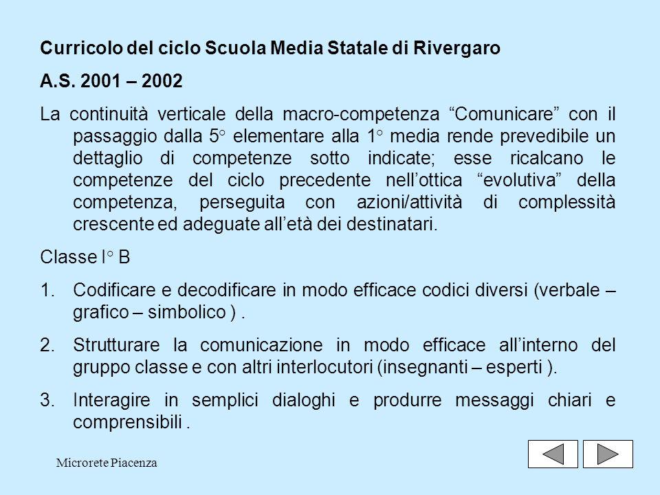 Curricolo del ciclo Scuola Media Statale di Rivergaro A.S. 2001 – 2002