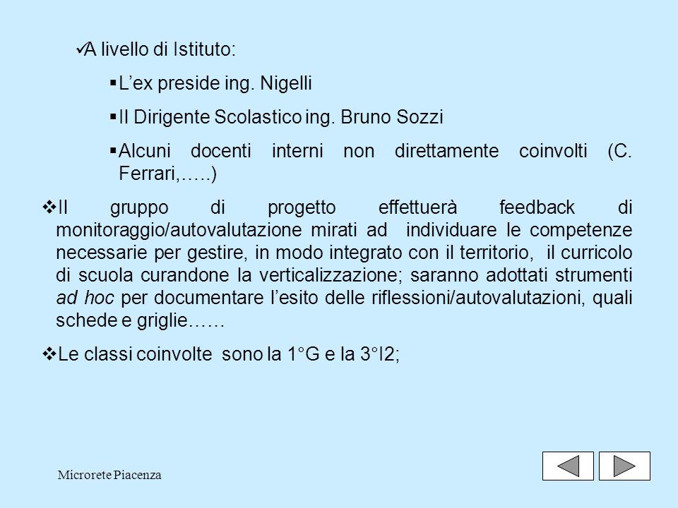 L'ex preside ing. Nigelli Il Dirigente Scolastico ing. Bruno Sozzi