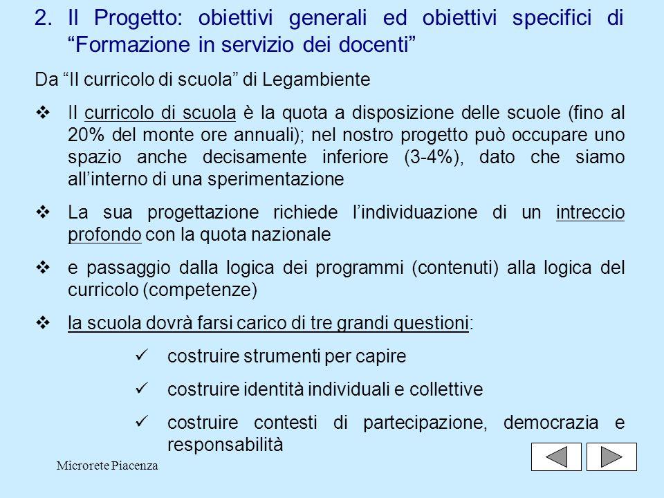 Il Progetto: obiettivi generali ed obiettivi specifici di Formazione in servizio dei docenti