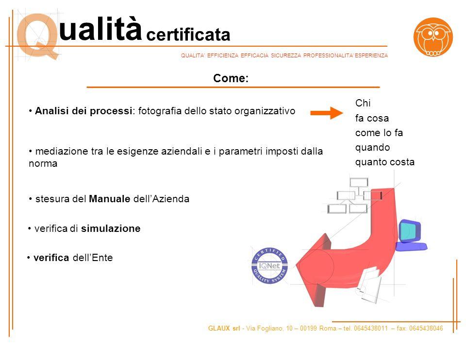 Come: Chi Analisi dei processi: fotografia dello stato organizzativo