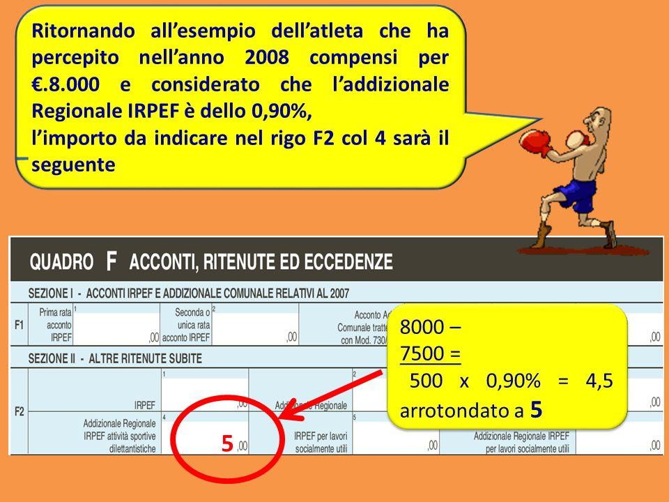 Ritornando all'esempio dell'atleta che ha percepito nell'anno 2008 compensi per €.8.000 e considerato che l'addizionale Regionale IRPEF è dello 0,90%,