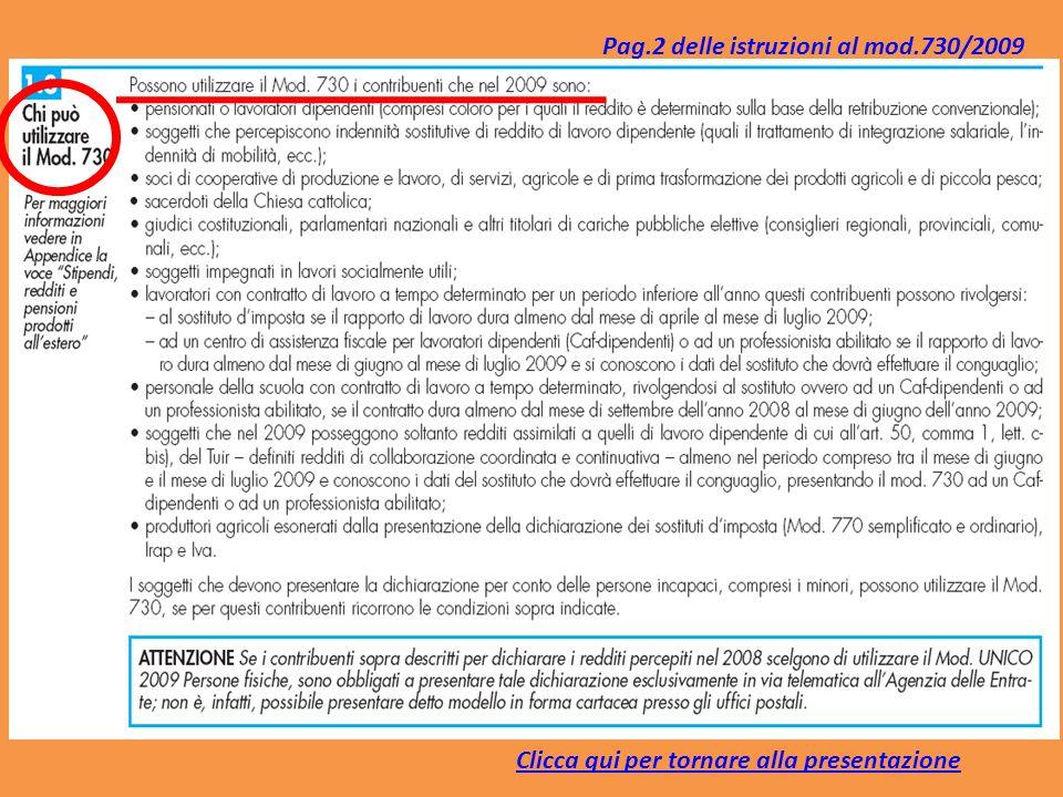Pag.2 delle istruzioni al mod.730/2009