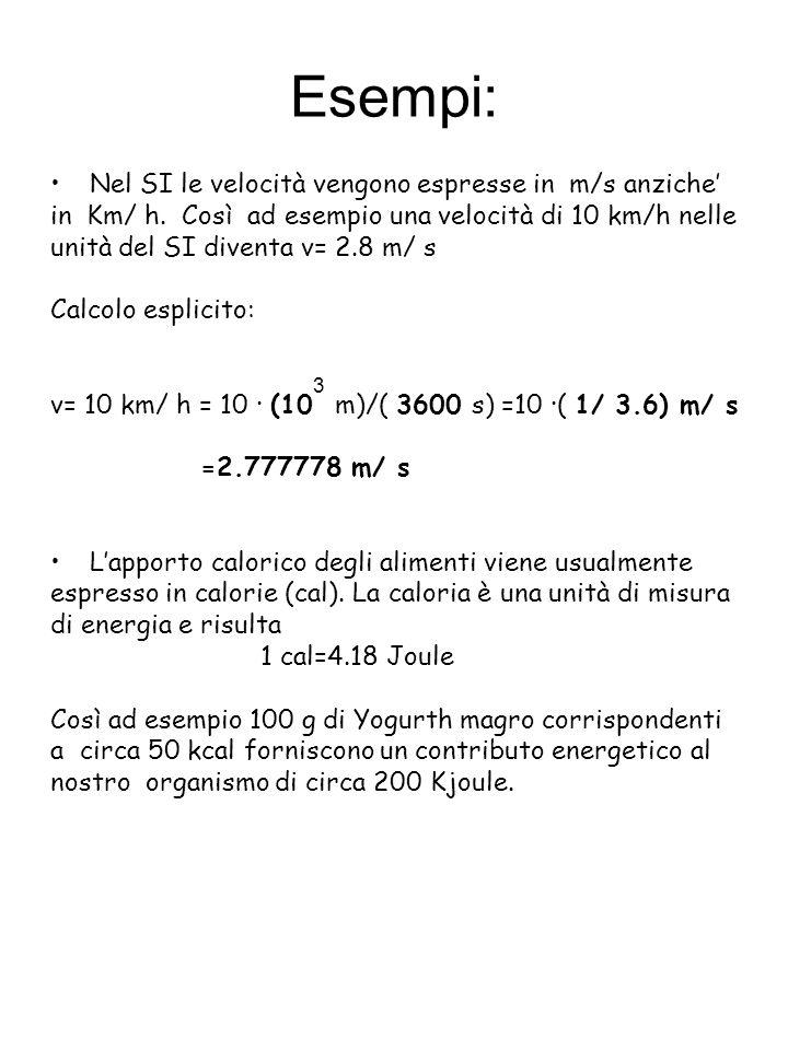 Esempi: Nel SI le velocità vengono espresse in m/s anziche'