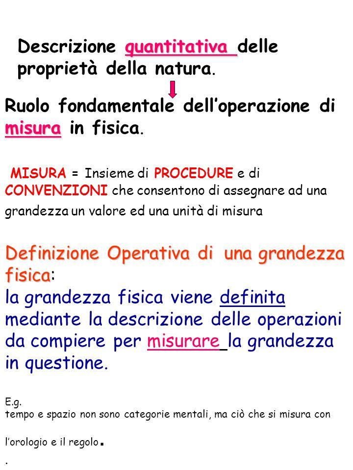 Descrizione quantitativa delle proprietà della natura.