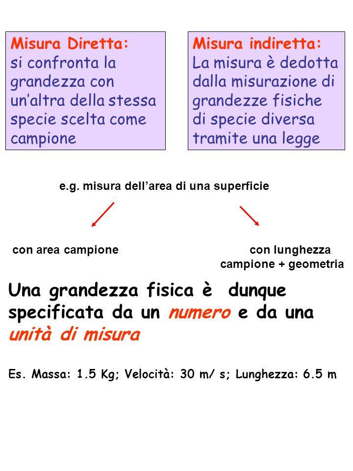Misura Diretta: si confronta la grandezza con un'altra della stessa specie scelta come campione.