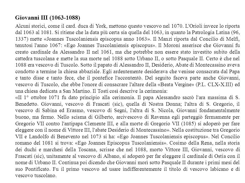 Giovanni III (1063-1088)