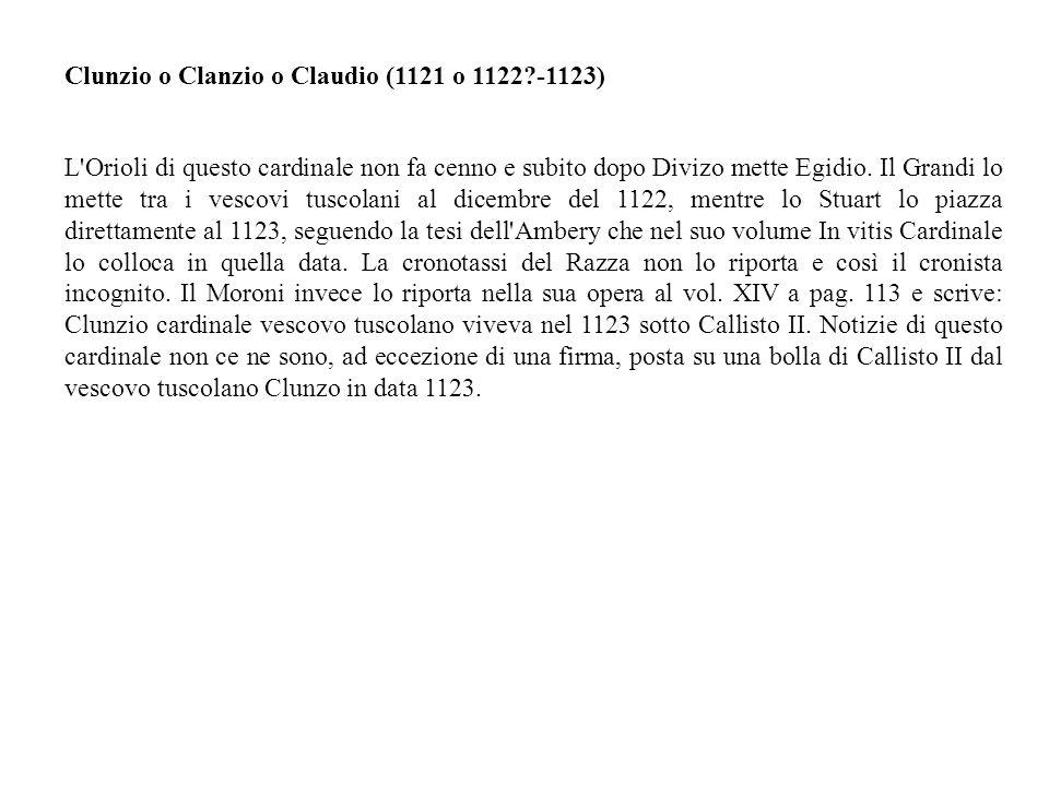 Clunzio o Clanzio o Claudio (1121 o 1122 -1123)