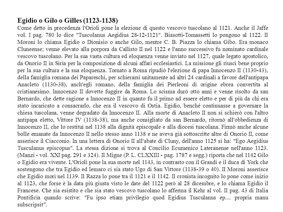 Egidio o Gilo o Gilles (1123-1138)