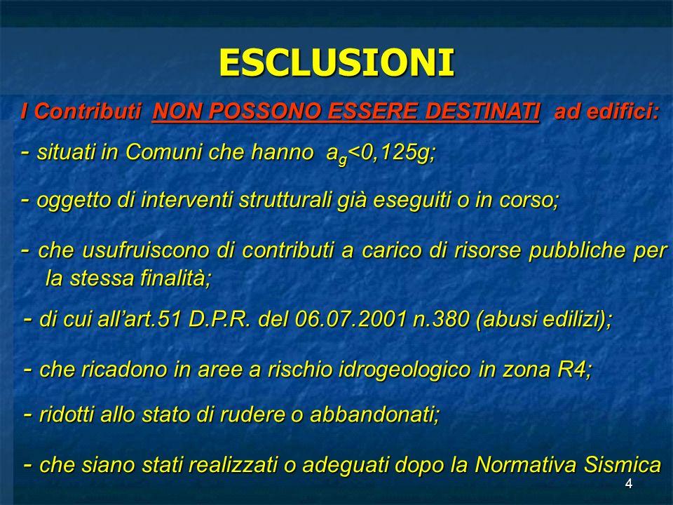 ESCLUSIONI - situati in Comuni che hanno ag<0,125g;