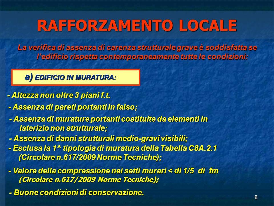 RAFFORZAMENTO LOCALE a) EDIFICIO IN MURATURA: