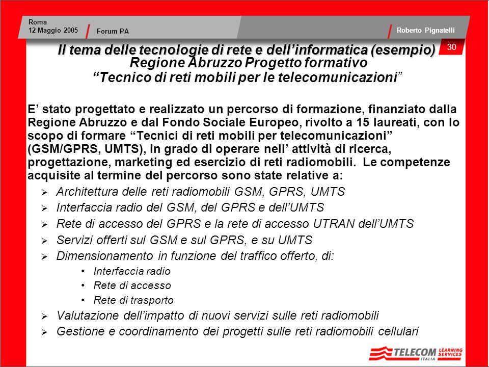 Il tema delle tecnologie di rete e dell'informatica (esempio) Regione Abruzzo Progetto formativo Tecnico di reti mobili per le telecomunicazioni