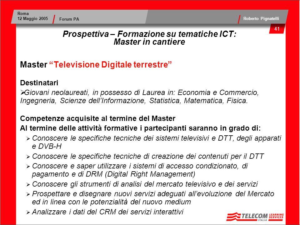 Prospettiva – Formazione su tematiche ICT: Master in cantiere