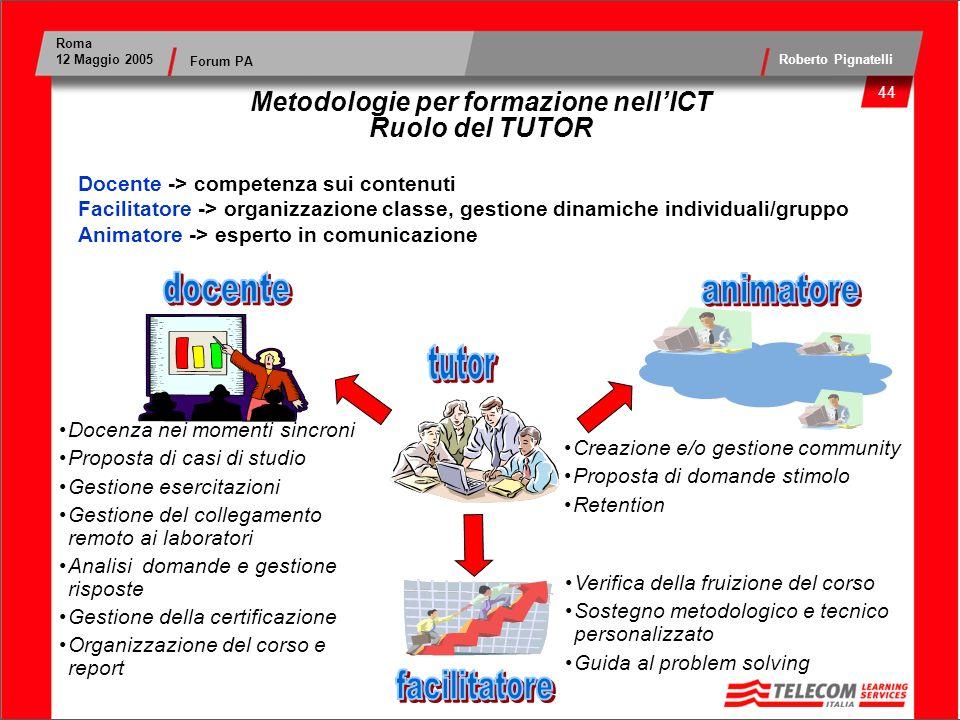 Metodologie per formazione nell'ICT Ruolo del TUTOR