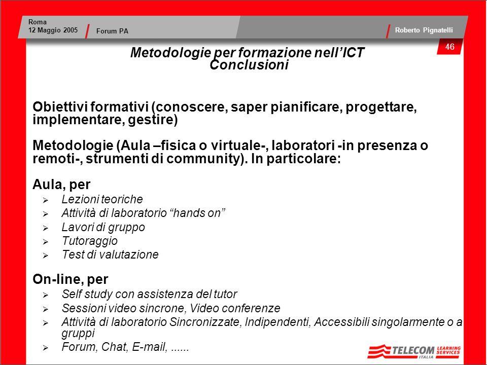 Metodologie per formazione nell'ICT Conclusioni