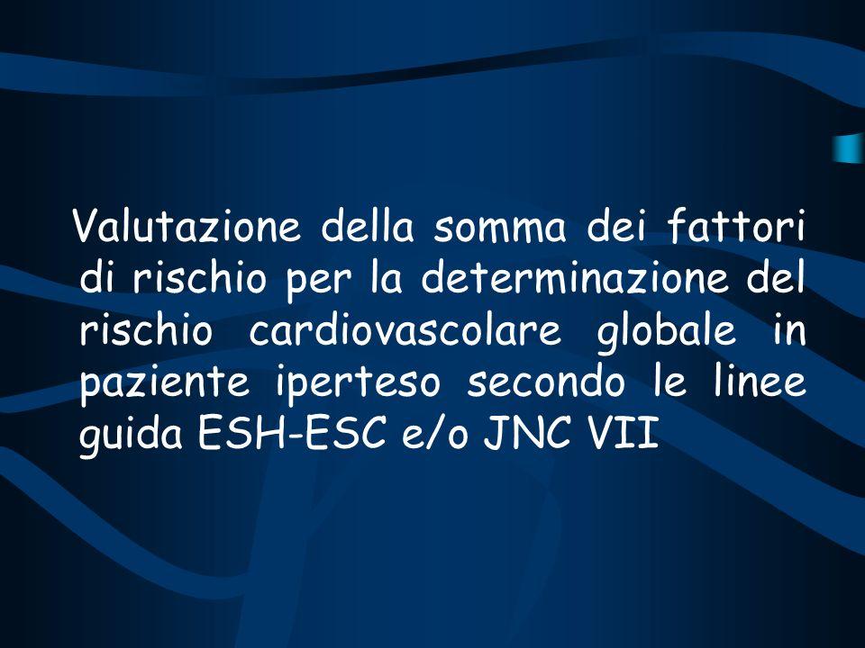 Valutazione della somma dei fattori di rischio per la determinazione del rischio cardiovascolare globale in paziente iperteso secondo le linee guida ESH-ESC e/o JNC VII