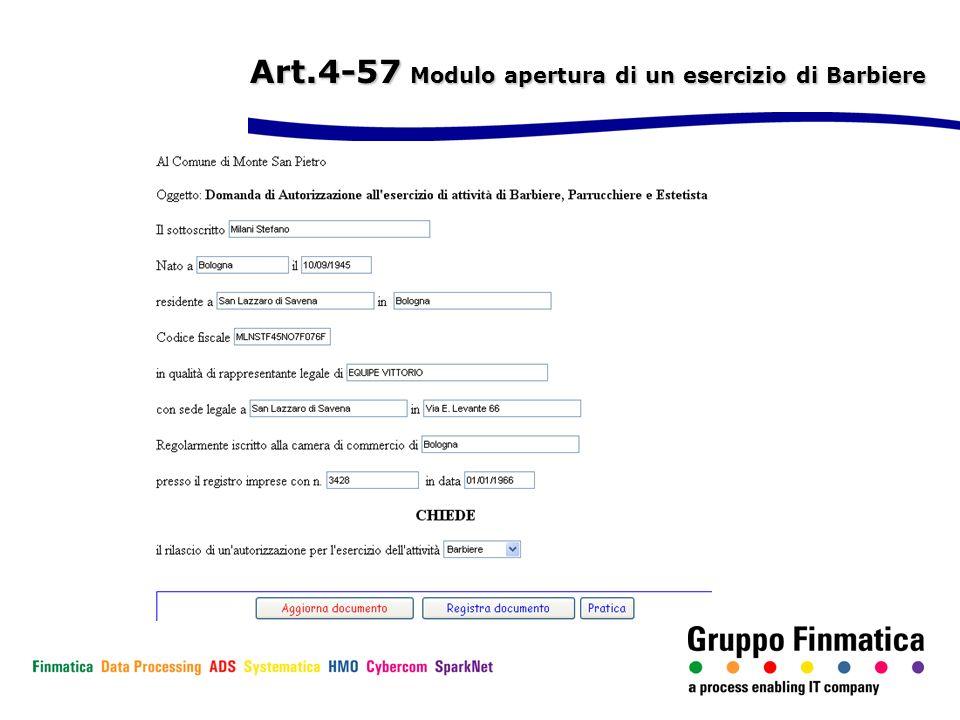 Art.4-57 Modulo apertura di un esercizio di Barbiere