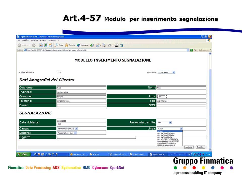 Art.4-57 Modulo per inserimento segnalazione