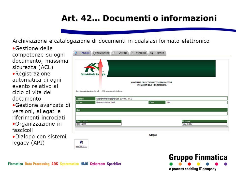 Art. 42… Documenti o informazioni
