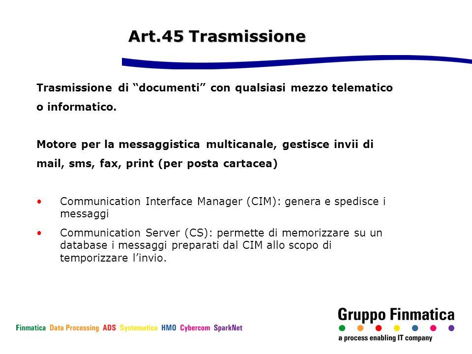 Art.45 Trasmissione Trasmissione di documenti con qualsiasi mezzo telematico. o informatico.