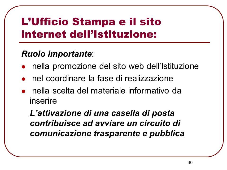 L'Ufficio Stampa e il sito internet dell'Istituzione:
