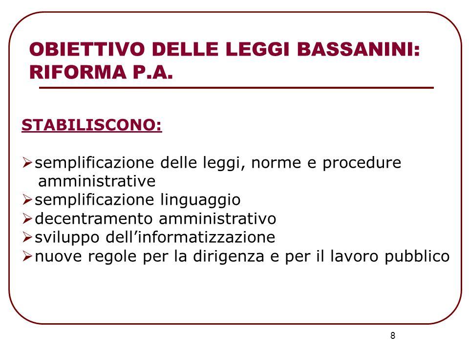OBIETTIVO DELLE LEGGI BASSANINI: RIFORMA P.A.